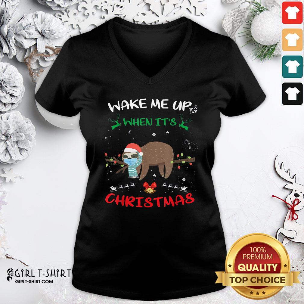 Call Sloth Wake Me Up When It's Christmas 2020 V-neck- Design By Girltshirt.com
