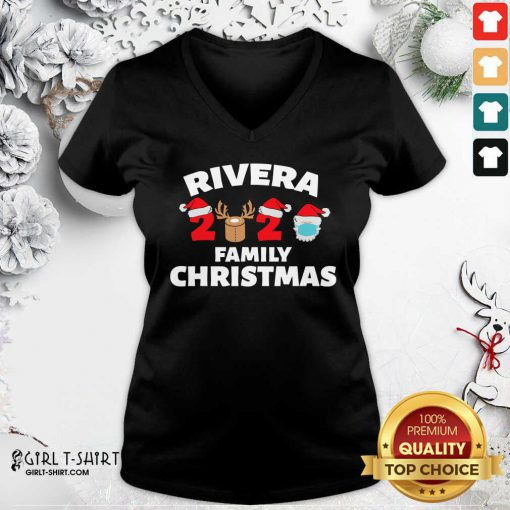 Rivera Family Christmas 2020 Santa Clause Wear Mask V-neck- Design By Girltshirt.com