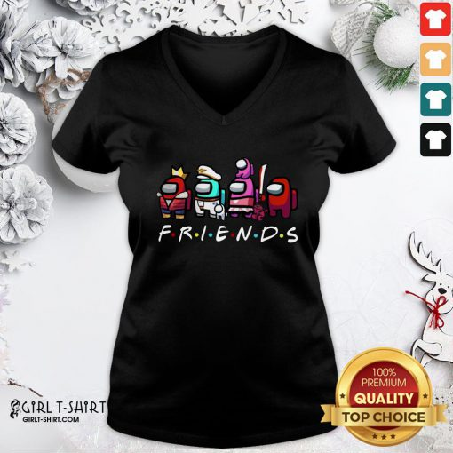 Cute Among Us Imposter Friends V-neck - Design By Girltshirt.com