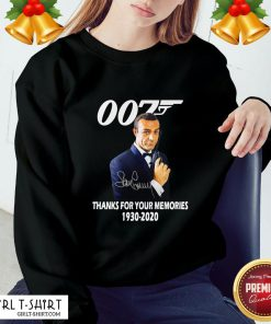Expensive Sean Connery 007 Thanks For The Memories 1930 2020 Signature Sweatshirt - Design By Girltshirt.com