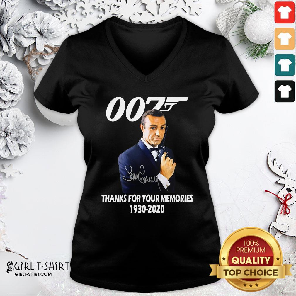 Expensive Sean Connery 007 Thanks For The Memories 1930 2020 Signature V-neck - Design By Girltshirt.com