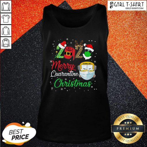 Feel 2020 Merry Quarantine Christmas School Bus Face Mask Tank Top - Design By Girltshirt.com