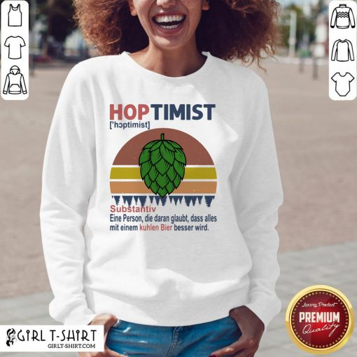 Feel Hoptimist Noun A Person Who Believes In It Vintage Retro V-neck - Design By Girltshirt.com