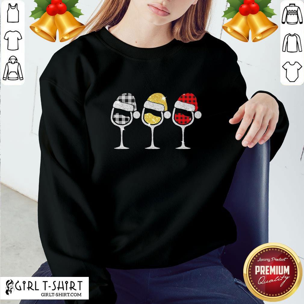 Fun Plaid Wines Santa Claus Sweatshirt - Design By Girltshirt.com