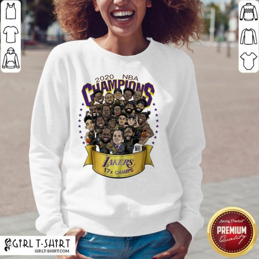Funny 2020 NBA Champions Los Angeles Lakers 17 Champs Cartoon V-neck- Design By Girltshirt.com