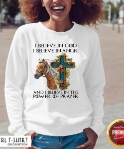 Funny Horse I Believe In God I Believe In Angel And I Believe In The Power Of Prayer V-neck - Design By Girltshirt.com