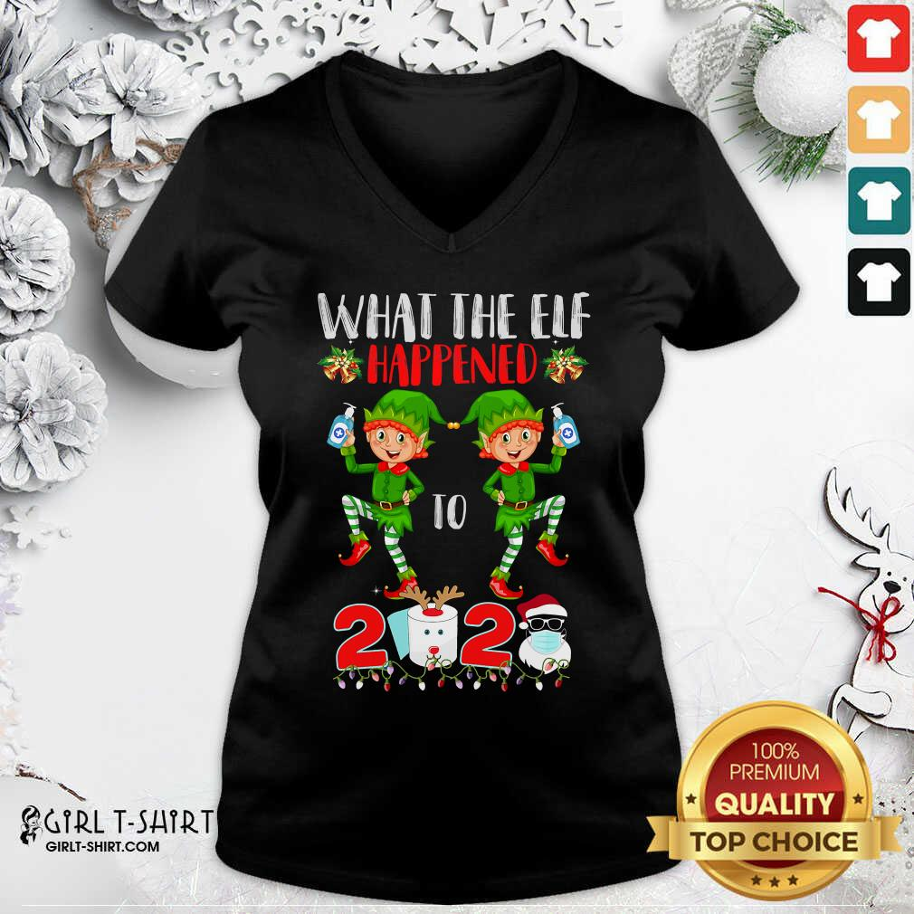 Funny What The Elf Happened To 2020 Toilet Paper Santa Clause Face Mask Merry Christmas V-neck- Design By Girltshirt.com