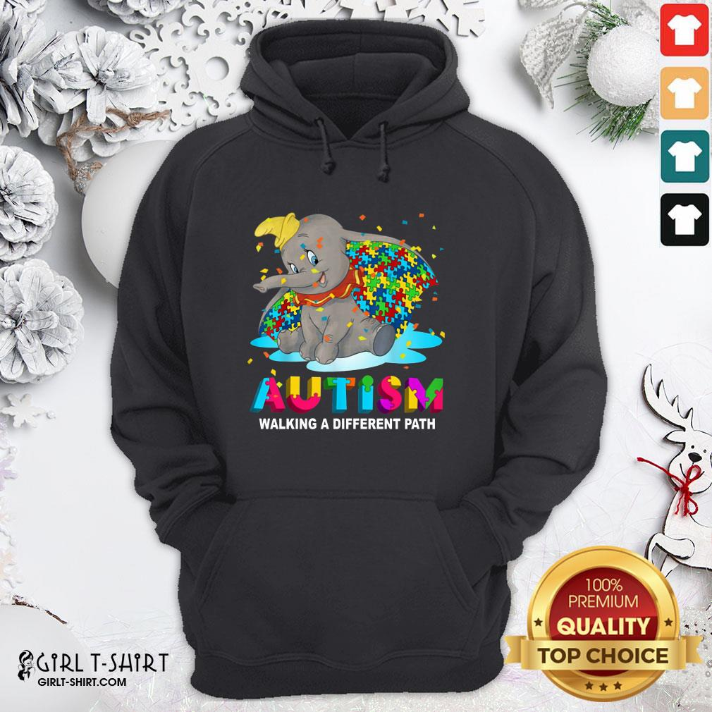 Gift Elephant Autism Walking A Different Path Hoodie- Design By Girltshirt.com
