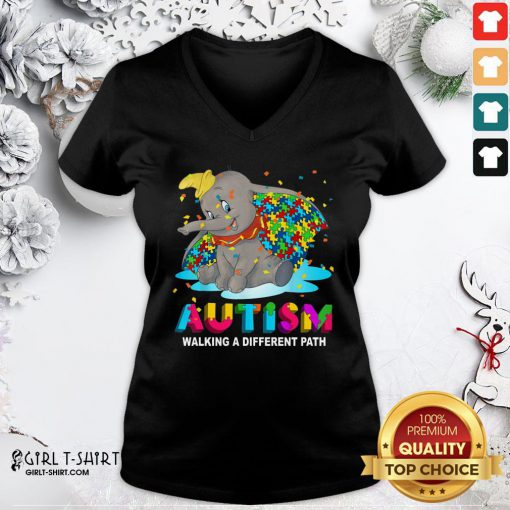 Gift Elephant Autism Walking A Different Path V-neck- Design By Girltshirt.com