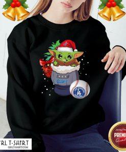Good Los Angeles Dodgers Christmas Baby Yoda Star Wars Funny Happy MLB Sweatshirt- Design By Girltshirt.com