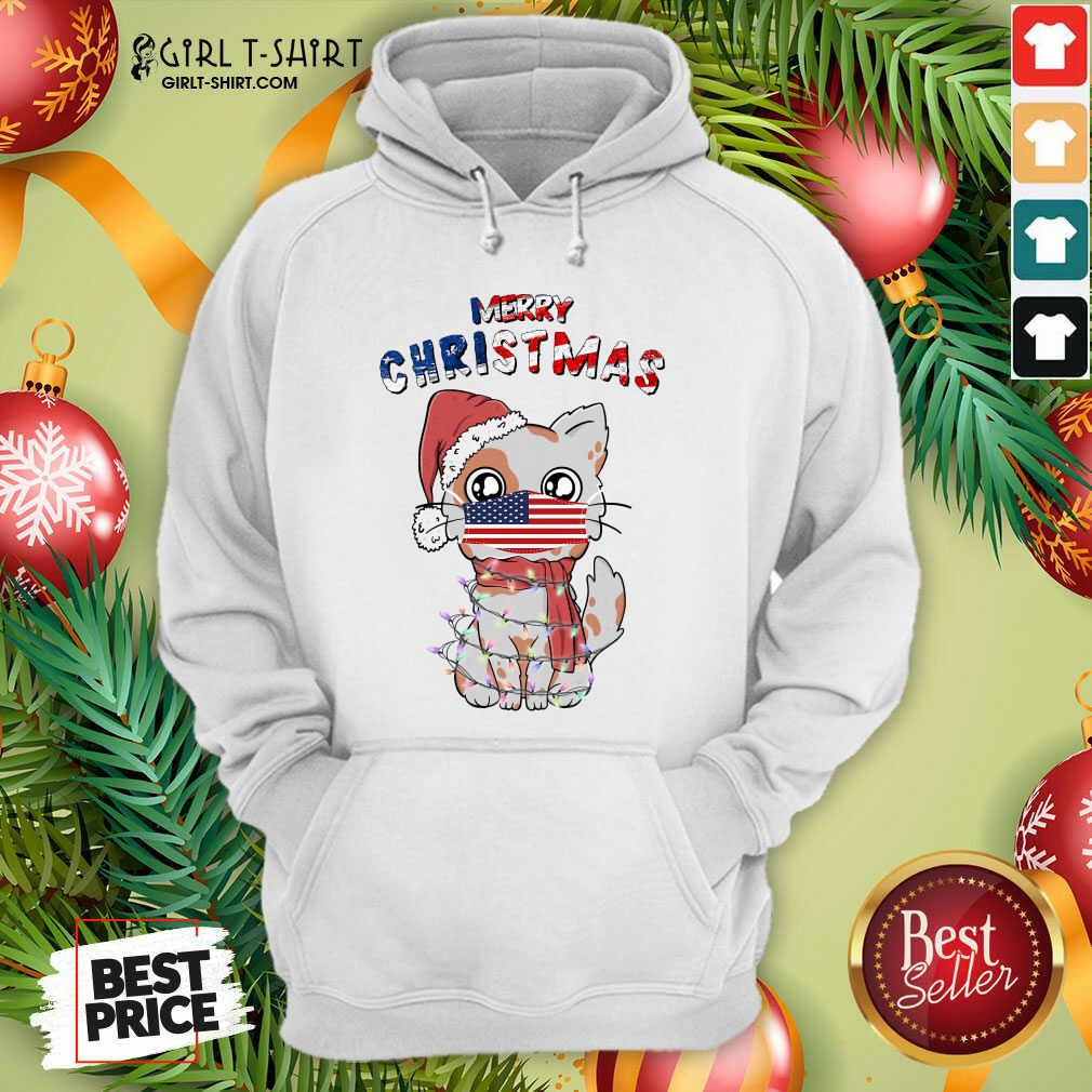 Good Merry Christmas 2020 Cat Wearing American Flag Face Mask Hoodie- Design By Girltshirt.com