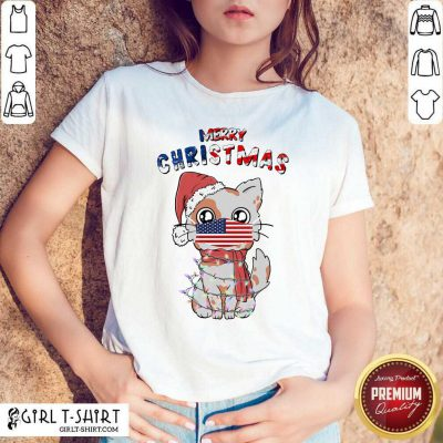 Merry Christmas 2020 Cat Wearing American Flag Face Mask Shirt- Design By Girltshirt.com