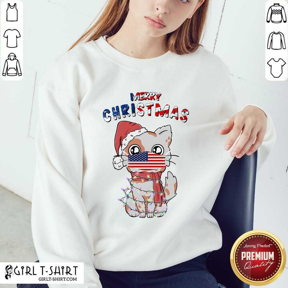 Good Merry Christmas 2020 Cat Wearing American Flag Face Mask Sweatshirt- Design By Girltshirt.com