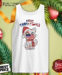Merry Christmas 2020 Cat Wearing American Flag Face Mask Tank Top- Design By Girltshirt.com