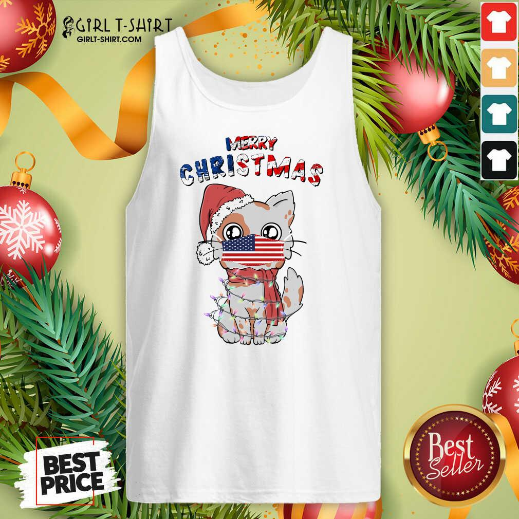 Good Merry Christmas 2020 Cat Wearing American Flag Face Mask Tank Top- Design By Girltshirt.com