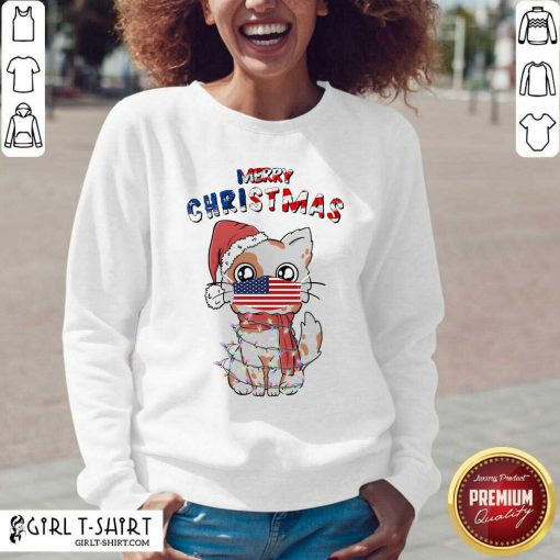 Merry Christmas 2020 Cat Wearing American Flag Face Mask V-neck- Design By Girltshirt.com
