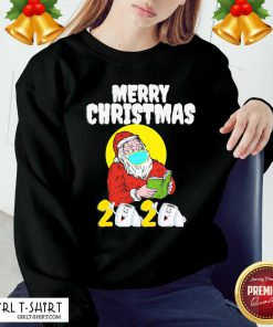 Merry Christmas 2020 Santa With Face Mask And Toilet Paper Sweatshirt- Design By Girltshirt.com