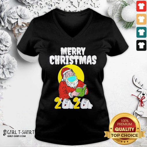 Merry Christmas 2020 Santa With Face Mask And Toilet Paper V-neck- Design By Girltshirt.com