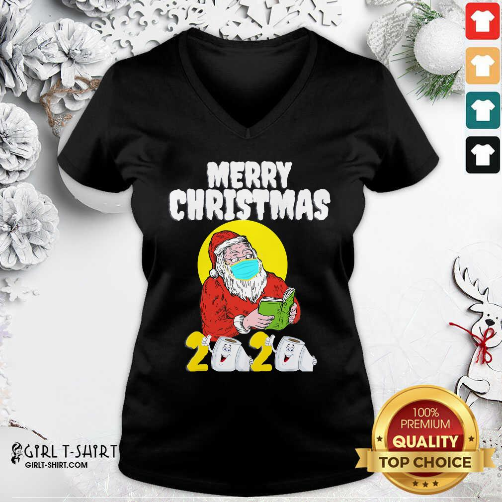 Good Merry Christmas 2020 Santa With Face Mask And Toilet Paper V-neck- Design By Girltshirt.com