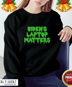 Gray Biden's Laptop Matters Political Swamp Green Sweatshirt - Design By Girltshirt.com