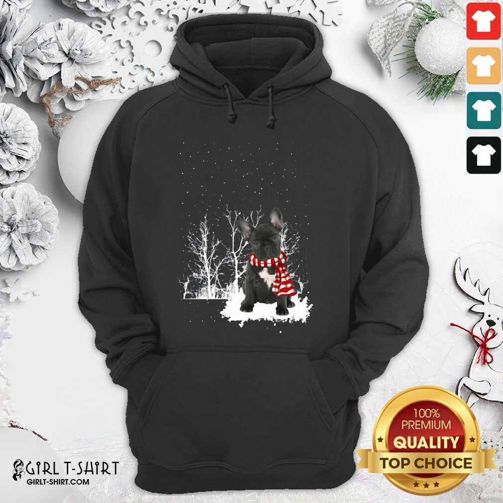 French Bulldog Snow Scarf Christmas Hoodie - Design By Girltshirt.com