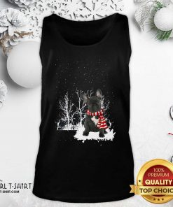 French Bulldog Snow Scarf Christmas Tank Top- Design By Girltshirt.com