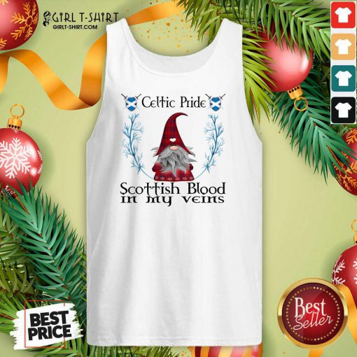 Gnome Celtic Pride Scottish Blood In My Veins Christmas Tank Top - Design By Girltshirt.com