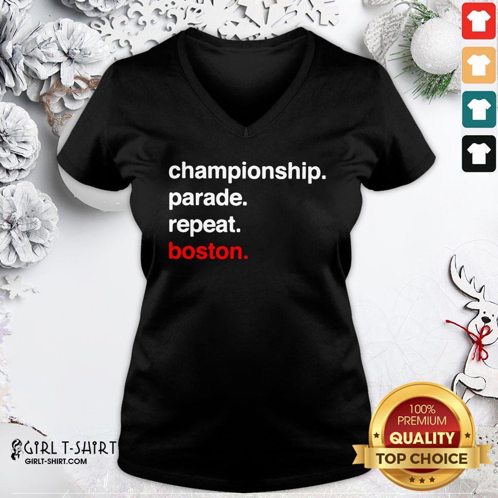 Happy Championship Parade Repeat Boston V-neck - Design By Girltshirt.com