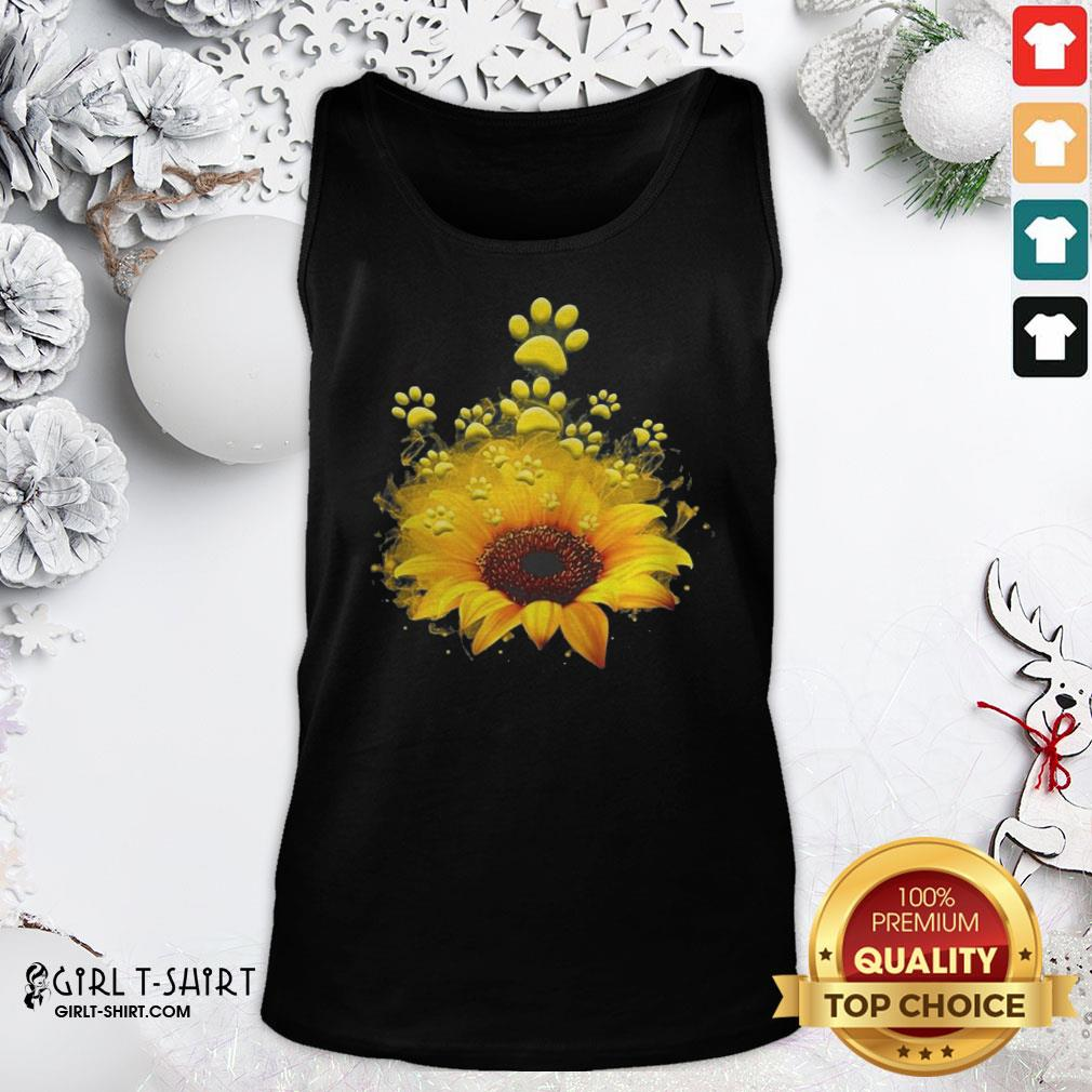 Happy Dog Sunflower Tank Top- Design By Girltshirt.com
