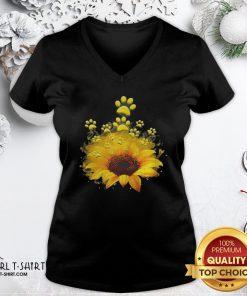 Happy Dog Sunflower V-neck - Design By Girltshirt.com