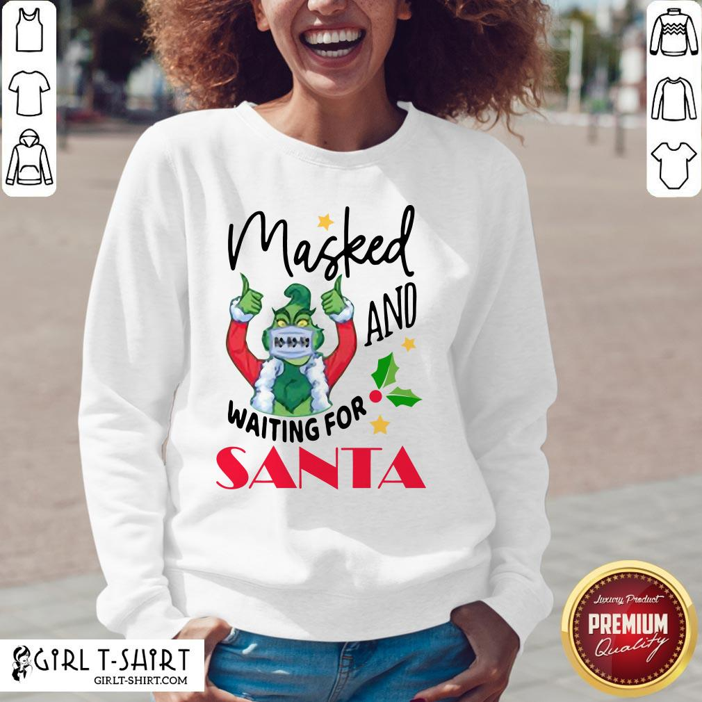 Hard Masked And Waiting For Santa Christmas V-neck - Design By Girltshirt.com