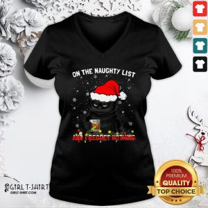 How Black Cat Santa On The Naughty List And I Regret Nothing Christmas V-neck - Design By Girltshirt.com