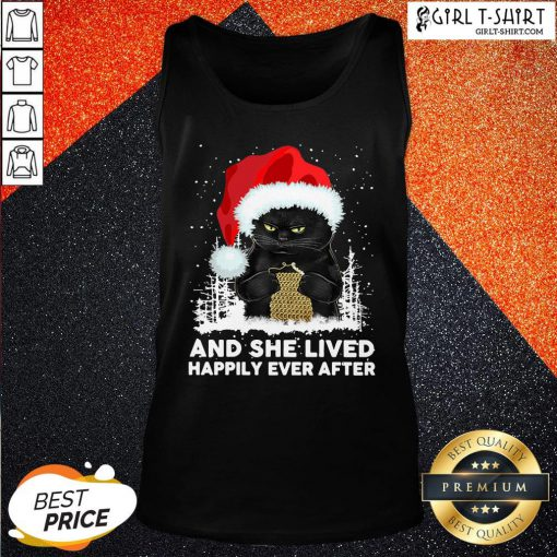 How Santa Black Cat And She Lived Happily Ever After Christmas Tank Top - Design By Girltshirt.com