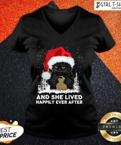How Santa Black Cat And She Lived Happily Ever After Christmas V-neck - Design By Girltshirt.com