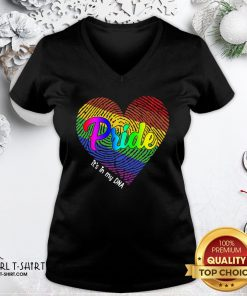 Just LGBT Pride Heart It's In My DNA V-neck- Design By Girltshirt.com