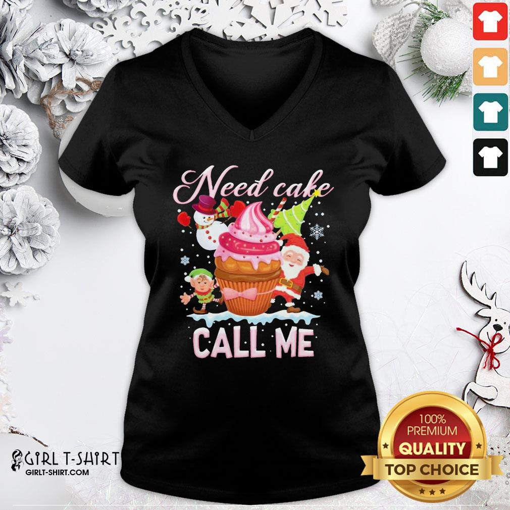 Make Santa And Snowman Claus Need Cake Call Me Christmas V-neck - Design By Girltshirt.com
