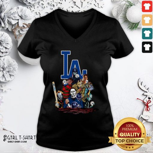 My Horror Movies Characters Los Angeles Dodgers 2020 World Series Champions V-neck- Design By Girltshirt.com