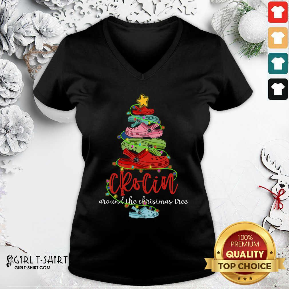 Crocin Around The Christmas Tree V-neck - Design By Girltshirt.com