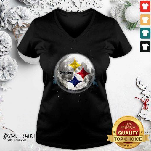 Pittsburgh Steelers Moon Christmas V-neck- Design By Girltshirt.com
