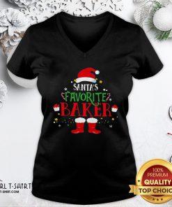 New Santa's Favorite Baker Merry Christmas V-neck - Design By Girltshirt.com
