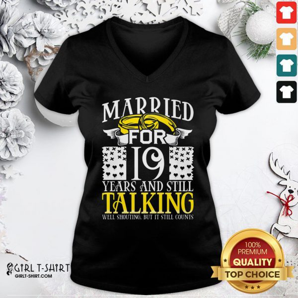 Nice 19th Wedding Anniversary For Wife Her Marriage V-neck - Design By Girltshirt.com