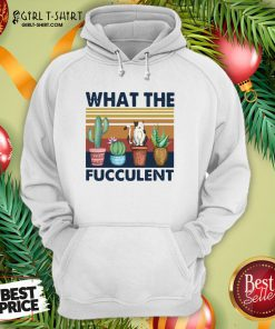 Nice Funny Cactus What The Fucculent Cat Vintage Retro Hoodie- Design By Girltshirt.com