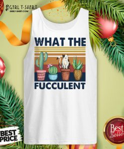 Nice Funny Cactus What The Fucculent Cat Vintage Retro Tank Top- Design By Girltshirt.com