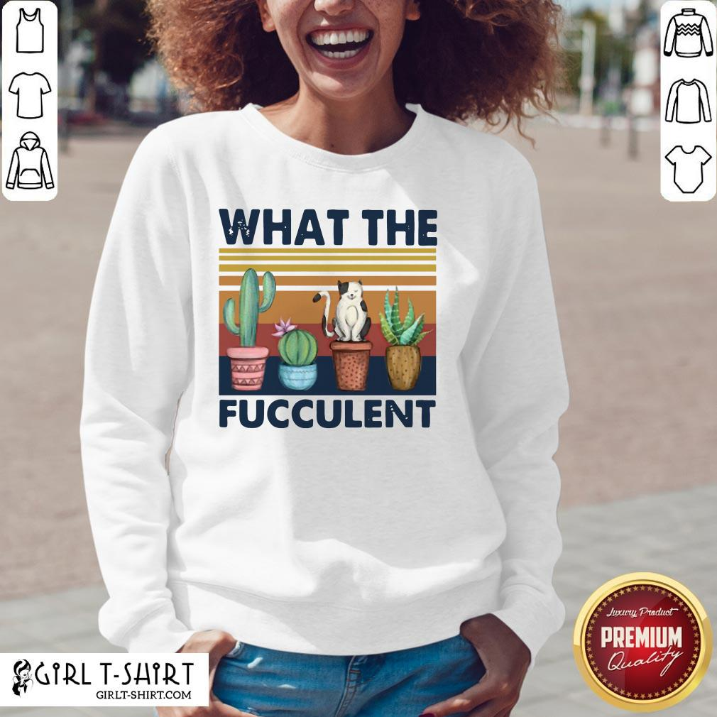 Nice Funny Cactus What The Fucculent Cat Vintage Retro V-neck- Design By Girltshirt.com