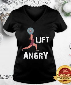 Lift Angry Women Weightlifting Gear V-neck - Design By Girltshirt.com