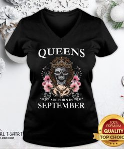 Nice Skull Queens Are Born In September V-neck - Design By Girltshirt.com
