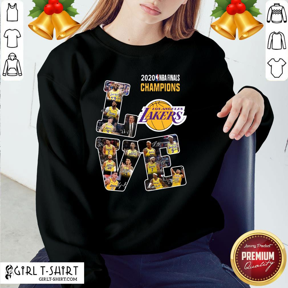 Official 2020 Nba Finals Champions Love Los Angeles Lakers Signatures Sweatshirt - Design By Girltshirt.com