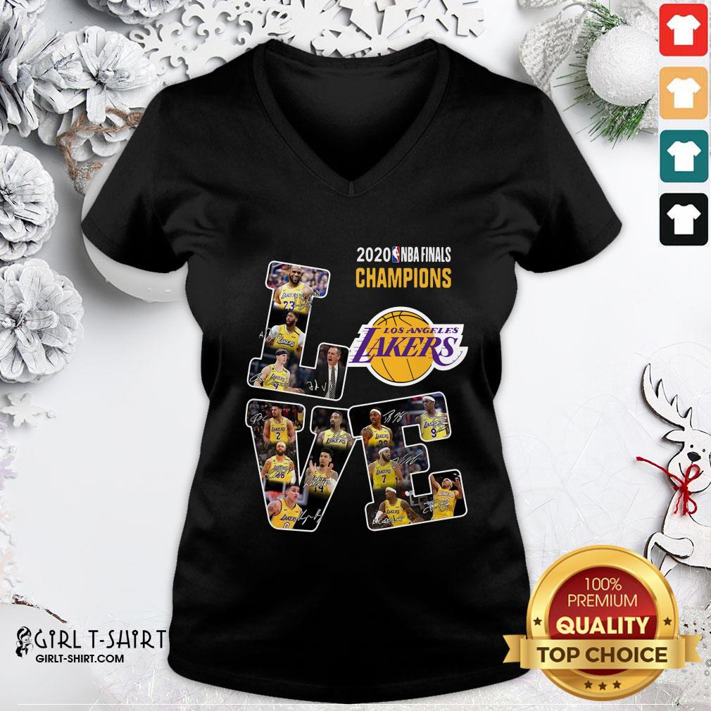 Official 2020 Nba Finals Champions Love Los Angeles Lakers Signatures V-neck - Design By Girltshirt.com
