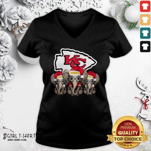 Kansas City Chiefs Elephant Christmas V-neck - Design By Girltshirt.com