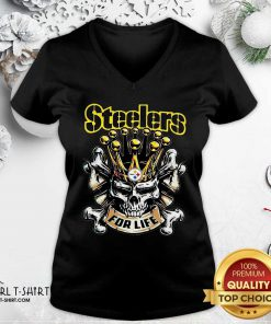 Official Skull Pittsburgh Steelers For Life V-neck- Design By Girltshirt.com
